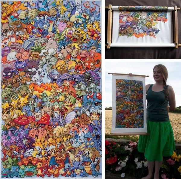 Linda with her finished Pokemon first generation cross stitch project completed