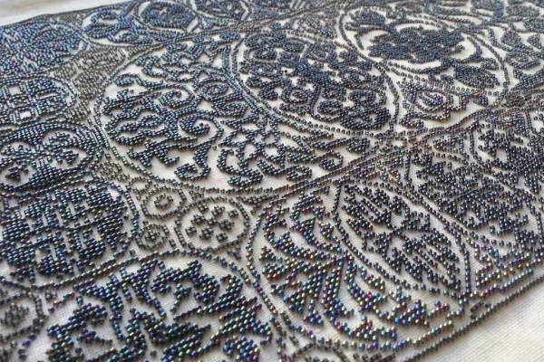 angled view of Cirque de Cercles design stitched in BEADS by Sheila C.