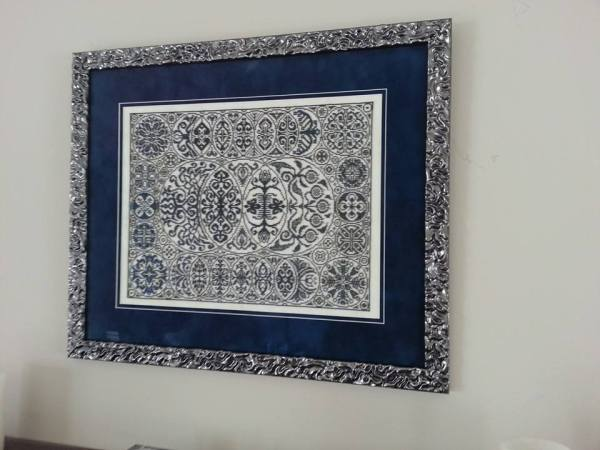 Ink Circles popular Cirque de Cercles design stitched in BEADS by Sheila C. Framed and on display!