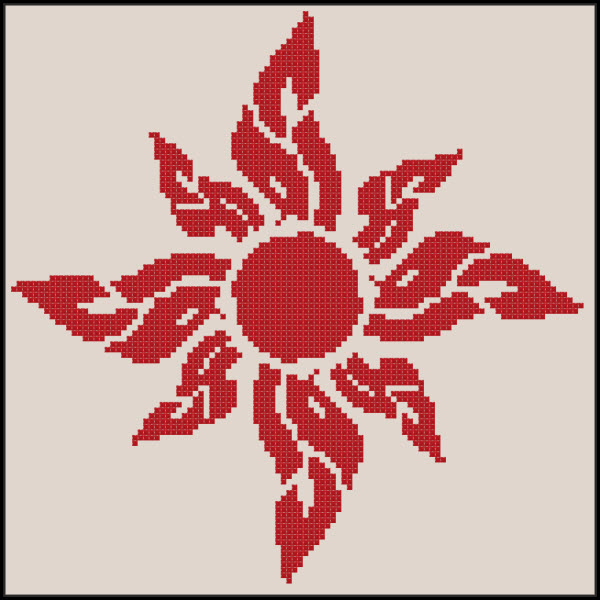 Flaming Floral Sunshine Cross Stitch Pattern in Coral Red