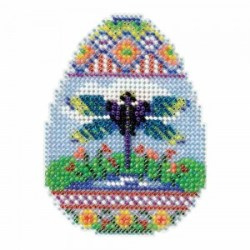 dragonfly spring egg cross stitch bead kit from mill hill