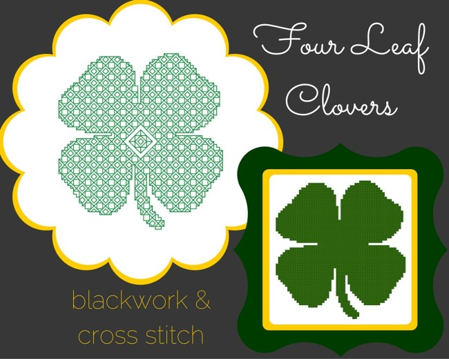 four leaf clover free cross stitch pattern and blackwork pattern