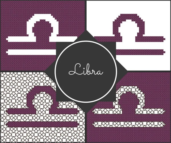Libra Cross Stitch Pattern Preview