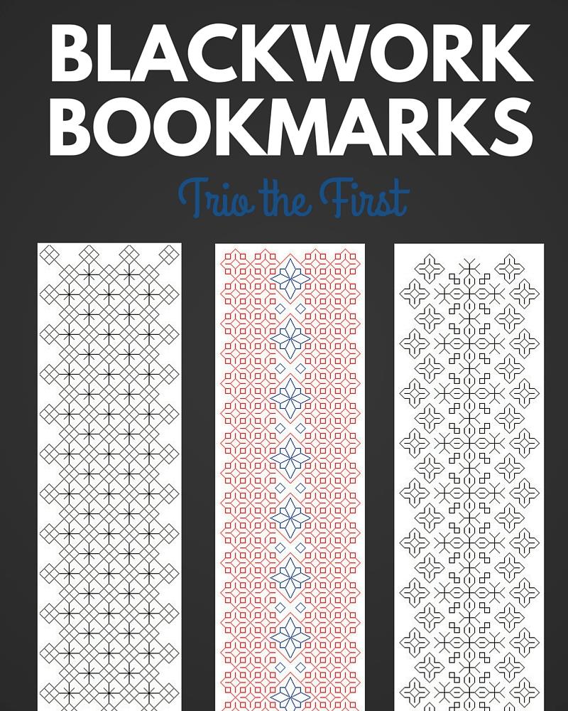 Blackwork Bookmark Trio the First