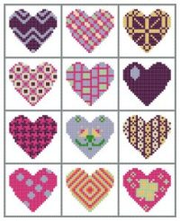 quilted hearts cross stitch with borders as a sampler