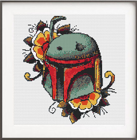 art deco Star Wars Boba Fett cross stitch pattern from NikkiPattern on Etsy
