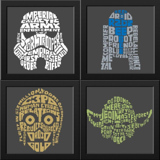 Star Wars character word art cross stitch patterns R2D2 - C3Po - Yoda - Clone
