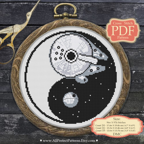 Star Wars Yin-Yang Cross Stitch Pattern from CrossStitchCrochetPatterns Milennium Falcon and Death Star