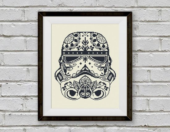 Sugar skull Stormtrooper Star Wars cross stitch pattern