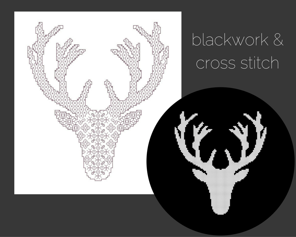 Deer Head Silhouettes in Blackwork and Cross Stitch