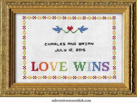 Love Wins wedding sampler cross stitch pattern from Subversive Cross Stitch