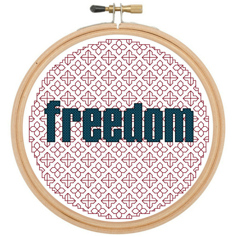 Freedom Blackwork & Cross Stitch In-the-Hoop Pattern