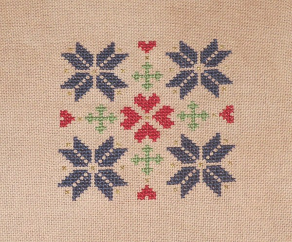 Quakerish Quilt Inspired Cross Stitch Ornament Finished Photo