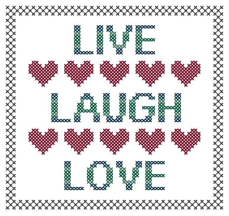Live Laugh Love Cross Stitch Pattern Preview