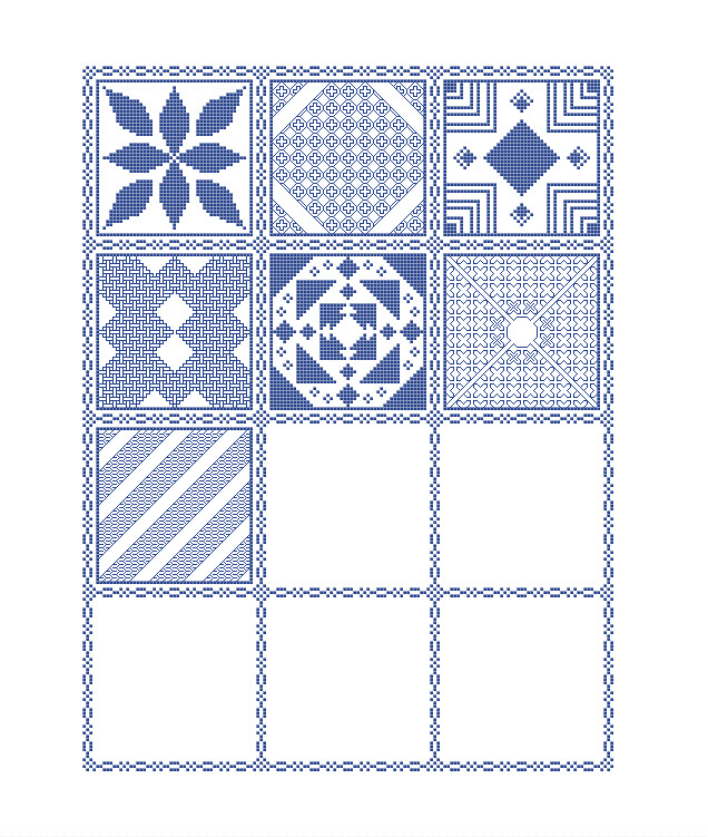 Preview of the mystery sampler cross stitch pattern including the first seven parts released.