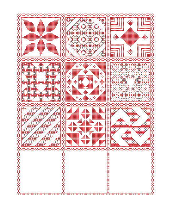 Preview of the mystery sampler cross stitch pattern including the first nine parts released.