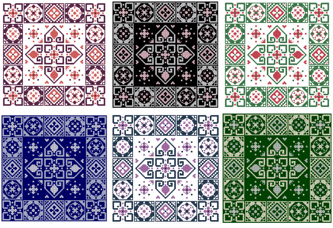 Miss G's Garden Cross Stitch Pattern Preview of Different Color Combination Ideas