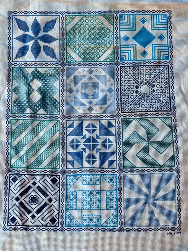 2019 SAL cross stitched by Wendy Smith in a variety of blue threads