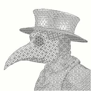 Plague Doctor Blackwork Pattern from FishStitches