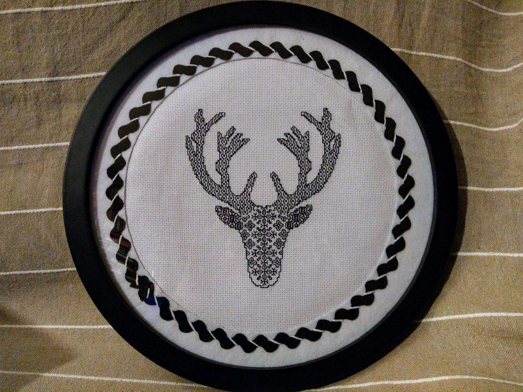 Blackwork Deer stitched by Monica Espinar