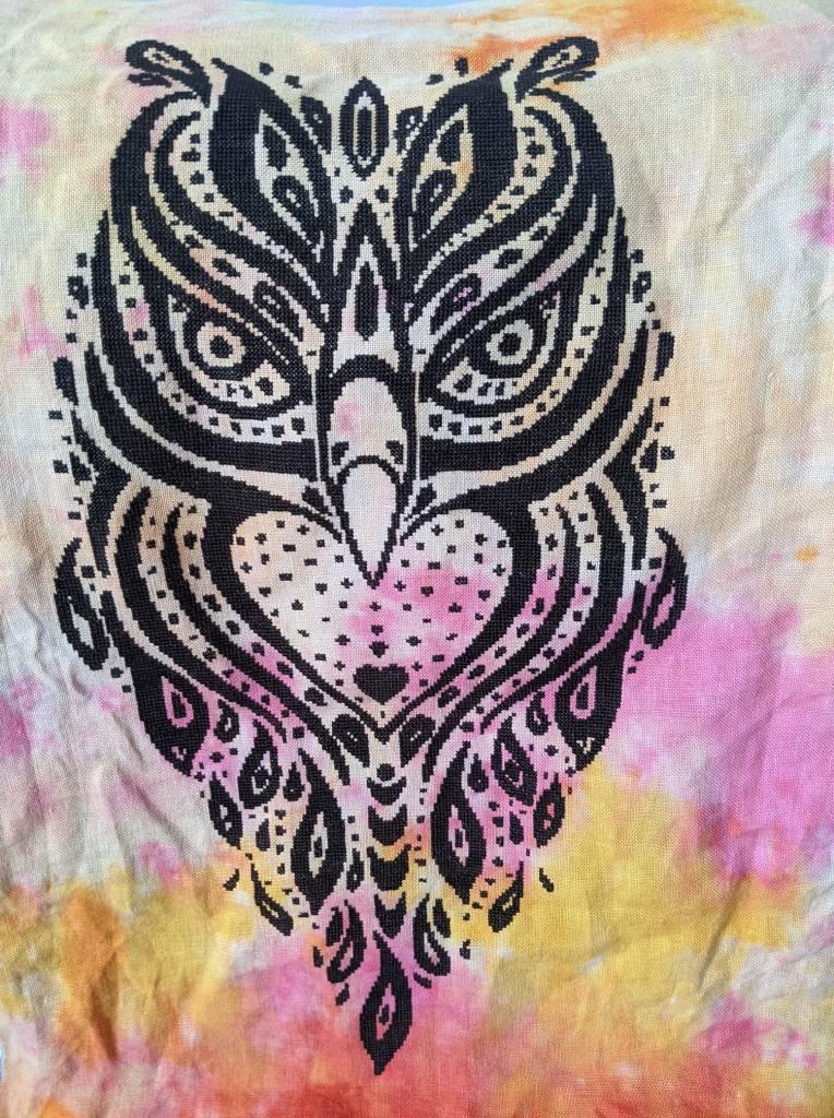 Spirit Owl cross stitch pattern stitched by Brenda Kendrick using DMC 3371 on 32 count Pele's Fire by Under the Sea Fabrics