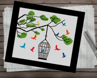 Bird-Cage-cross stitch pattern