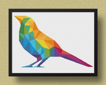 Bird Geometric animal cross stitch pattern