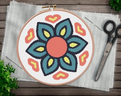 Boho ornament mandala cross stitch pattern