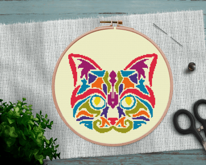Cat Mandala Cross Stitch Pattern
