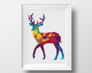 Deer Geometric Animal Cross Stitch Pattern