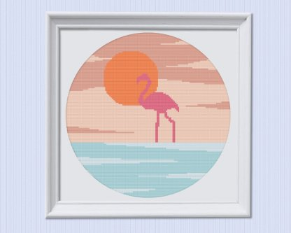 Flamingo-Modern-Cross-Stitch-Pattern