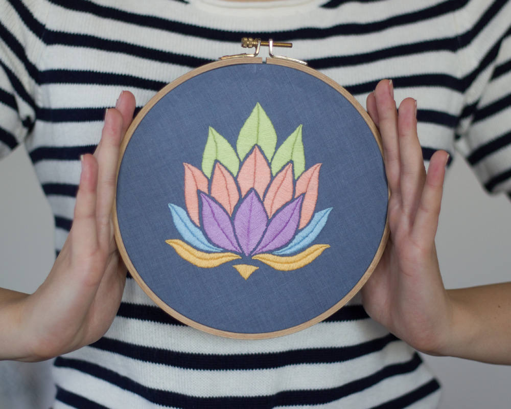 Lotus Flower Beginner Embroidery Pattern Stitchyluna