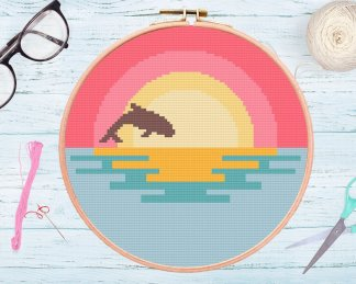 Ocean-Dolphin-Modern-Cross-Stitch-Pattern