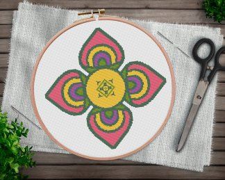 Ornament-3-boho mandala cross stitch pattern