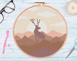 brown-elk-cross-stitch-template