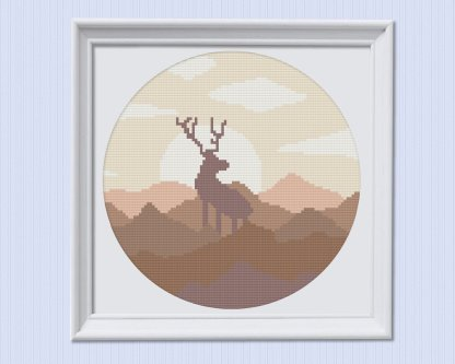 brown-elk-modern-cross-stitch-template
