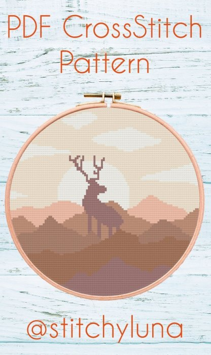 brown-elk-pdf-cross-stitch-template