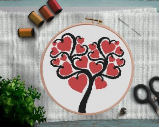 hearttree-Heart Tree Valentines Day Cross Stitch Pattern