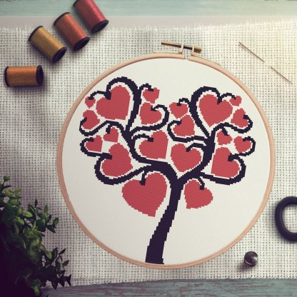 i-hearttree Heart Tree Valentines Day Cross Stitch Pattern