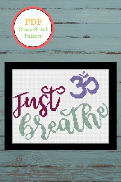 just-breathe-pint-yoga lover cross stitch pattern