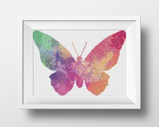 rainbow butterfly free cross stitch pattern