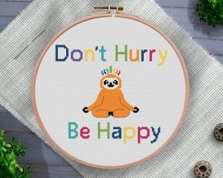 Don't-Hurry-Sloth-Cross-Stitch-Pattern