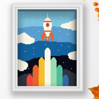 Rocket-nursery-cross-stitch-pattern