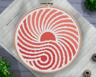 living-coral-geometric-cross-stitch-pattern