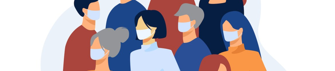 Crowd of people wearing face medical masks outside. Infection spread prevention in society. Vector illustration for coronavirus outbreak, safety, quarantine, disease concept