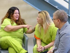 Sister Cindy talks with women at the Beaver County Jail in Aliquippa, PA.