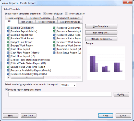 visual reports in ms project