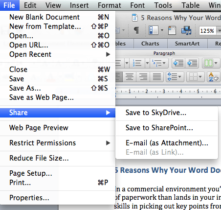 A screen shot of Word's ability to share.