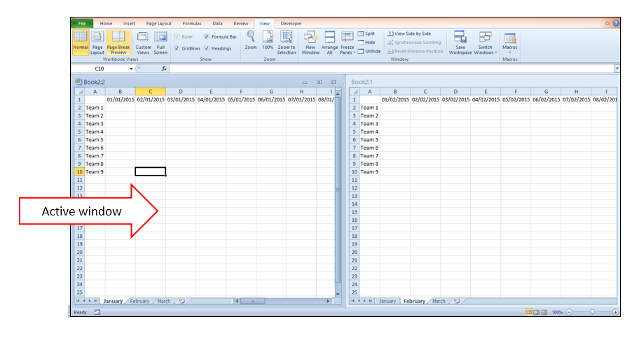 view two Excel worksheets side-by-side