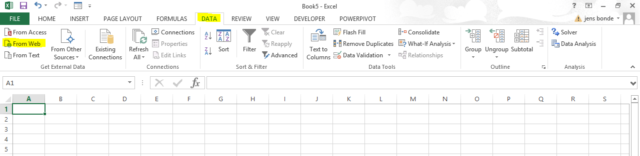 Linking web data to Excel